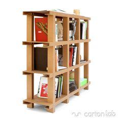 Estantería de cartón. Ligera y resistente (Hasta 250kg de peso). Desmontable, ecológica. Diseñada en España con materiales certificados FSC.