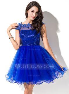 Vestidos princesa/ Formato A Decote redondo Curto/Mini Tule Lantejoulas Vestido de baile com Bordado Apliques de Renda (018046234)