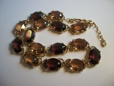 Swarovski Signed Amber Gold Plated necklace, bracelet & earrings set SALE by Mary M Jewelry n More