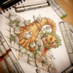"""Wood snake"" #copic #copicmarkers #copicart #dofus #cartoon #cartoon    #Regram via @tino_copic"