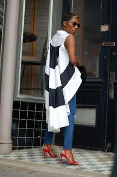by LaShoundra Young Black And White Tops, My Outfit, Color Blocking, Cold Shoulder Dress, Chic, Casual, How To Wear, Shirts, Clothes