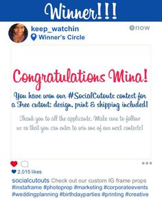 Congratulations @keep_watchin!! You were our lucky draw in our #SocialCutout #contest! Thank you to everyone who entered the contest be on the lookout for other contests as well!