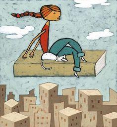Volando con la lettura...  (Illustrazione di Carlos Cubeiro)