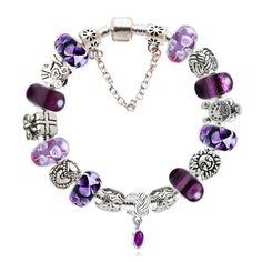 16pcs Heart European CZ Crystal Charm Silver Spacer Beads Fit Necklace Bracelet