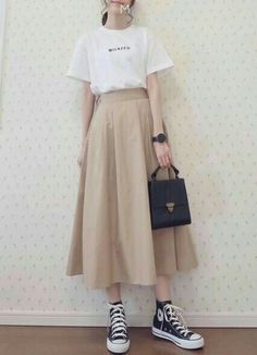 Ideas Skirt Outfits Korean Fashion Sets - -You can find Korean outfits and more on our Ideas Skirt Outfits Korean Fashion Sets - - Korean Fashion Trends, Korean Street Fashion, Korea Fashion, Japan Fashion Casual, Korean Fashion Casual, Japanese Fashion Street Casual, Korean Street Styles, Long Skirt Outfits, Boho Outfits