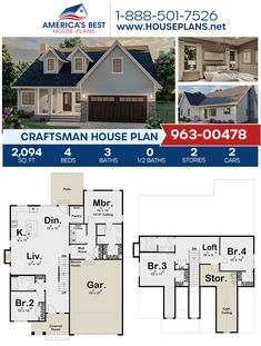 Plan 963-00478 details a 2-story Craftsman home with 2,094 sq. ft., 4 bedrooms, 3 bathrooms, a kitchen island, an open floor plan, a loft, and a mudroom. #craftsman #twostoryhome #architecture #houseplans #housedesign #homedesign #homedesigns #architecturalplans #newconstruction #floorplans #dreamhome #dreamhouseplans #abhouseplans #besthouseplans #newhome #newhouse #homesweethome #buildingahome #buildahome #residentialplans #residentialhome Craftsman Style Homes, Craftsman House Plans, Best House Plans, Dream House Plans, Two Story Homes, Architectural Elements, New Construction, Square Feet, Building A House