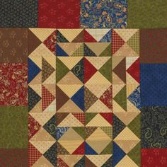 Careful  color placement of rich navy, olive, brown, and red is key to creating this  three-block table runner of hourglass and Flying Geese units. Fabrics are from  the Blessings collection by Brannock & Patek for Moda Fabrics.