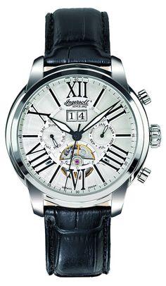 Ingersoll IN1815SL - Reloj analógico automático para hombre, correa de cuero color negro