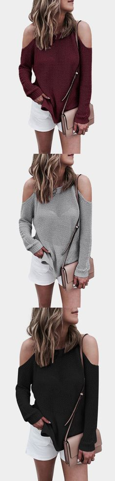 Grey Cold shoulder Long Sleeves Knitwear with Side Splited