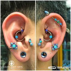 Take a look at these fancy ears! Our client Carter has taken wonderful care of his piercings, and he's picked out some truly stunning pieces over the years. The two clusters for his conch piercings being the newest additions. All piercings are healed, all done by Cody, and all jewelry from @anatometal, minus the gold feather on the back of his industrial. Thanks so much for being such a wonderful client for all these years Carter! @vaughnbodyarts Monterey, CA