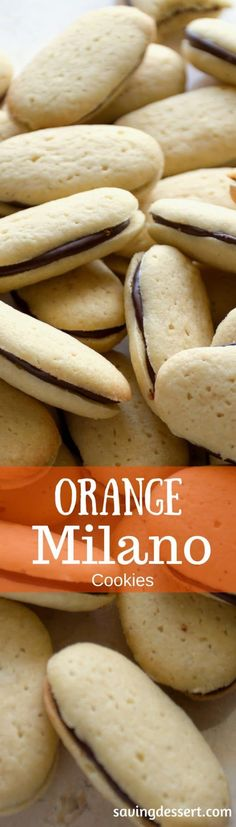 Homemade {CopyCat} Orange Milano Cookies ~ delicious vanilla cookies with a dark chocolate center flavored with orange zest www.savingdessert.com