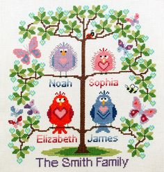 Family tree cross stitch for 4 cute birds easy by BirdSaysTweet