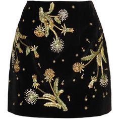 Topshop Unique Brunswick embellished cotton-velvet mini skirt (£495) ❤ liked on Polyvore featuring skirts, mini skirts, metallic skirt, black velvet mini skirt, short mini skirts, metallic mini skirt and embroidered skirt