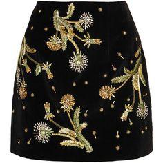 Topshop Unique Brunswick embellished cotton-velvet mini skirt (£495) ❤ liked on Polyvore featuring skirts, mini skirts, metallic skirt, black velvet mini skirt, short mini skirts, metallic mini skirt and embroidered skirt
