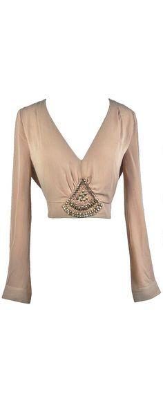 Lily Boutique Stop Short Embellished Crop Top in Beige, $28