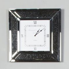 Diamond Glitz Noir Smoked Mirrored Wall Clock Mirror Wall Clock, Black Wall Mirror, Mirror Panels, Mirrored Vanity, Vanity Mirrors, Beveled Mirror, Beveled Glass, Wall Clock With Moving Gears, Glitter Mirror