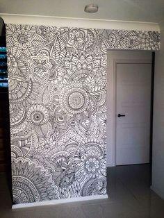 Henna flower wall design