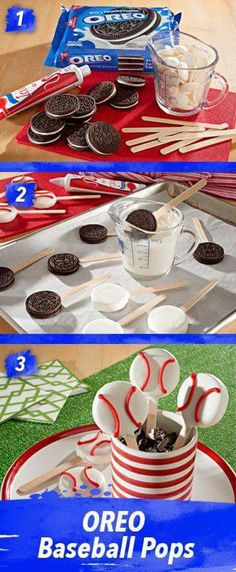 OREO Baseball Pops So cute and really so much easier to make than you'd think. Simply pop stick into OREO Cookies, dip in melted candy coating. Pop in fridge to set and decorate with icing. A summer homerun! Softball Party, Baseball Birthday Party, Sports Birthday, 1st Birthday Parties, Boy Birthday, Cake Birthday, Birthday Basket, Birthday Ideas, Sports Party