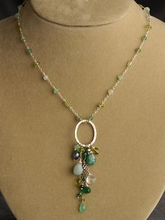 Peridot, Chrysoprase, Green Onyx, Amazonite and Pearl Pendant | Handmade Jewelry