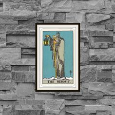Vintage 1910 The Hermit IX Rider-Waite-Smith Tarot Card Reproduction Art Poster Print Two Sizes Available