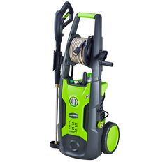 Picture of a black and green electric-powered Greenworks pressure washer