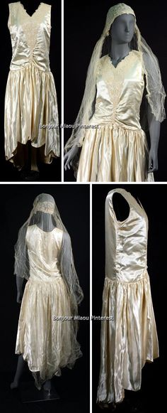 A silk robe de style wedding dress with a scalloped hem, worn by Jessie Mae Anderson Branyon for her wedding on August 14, 1929. Via Univ. of Georgia Historic Clothing & Textile Collection Facebook.