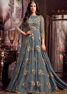 Grey Net Ethnic Gown by M M Creations - Online shopping for Ethnic Gowns on MyShopPrime - Indian Designer Outfits, Designer Gowns, Indian Outfits, Designer Anarkali, Indian Gowns Dresses, Pakistani Dresses, Bridal Dresses, Abaya Fashion, Indian Fashion