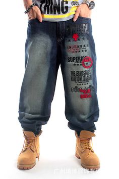 2016 New Mens Hip Hop Baggy Jeans With Embroidery For Street Dancing And Skatebord Loose Fit Plus Size 30 To 46 High Quality Hot