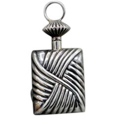 656556e8f Vintage sterling silver perfume bottle pendant screw top great look large  top signed