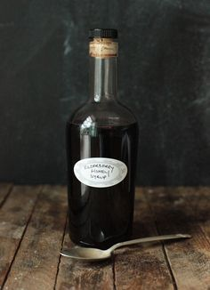 Make your own elderberry+honey syrup. A must have against fighting the flu. From Ashley English.
