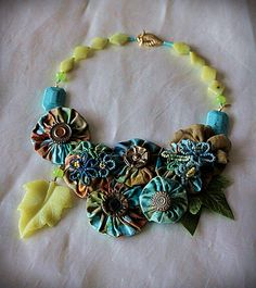 LILY PAD Mixed Media Necklace Turquoise Green Teal
