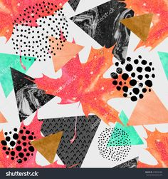 Abstract Autumn Geometric Seamless Pattern. Glittering Maple Leaf, Triangles With Marble, Grunge Textures. Abstract Geometric Background In Retro Vintage 80s 90s Pop Art. Hand Drawn Fall Illustration - 478635286 : Shutterstock