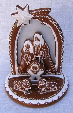 Nativity in brown and white. Gingerbread Decorations, Gingerbread Cookies, Christmas Decorations, Holiday Decor, Christmas Gingerbread House, Christmas Nativity, Christmas Ornaments, Handmade Christmas, Christmas Crafts