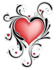 Heart Tattoos | Heart with Tribal Swirls / Heart Tattoos / Free Tattoo Designs ...