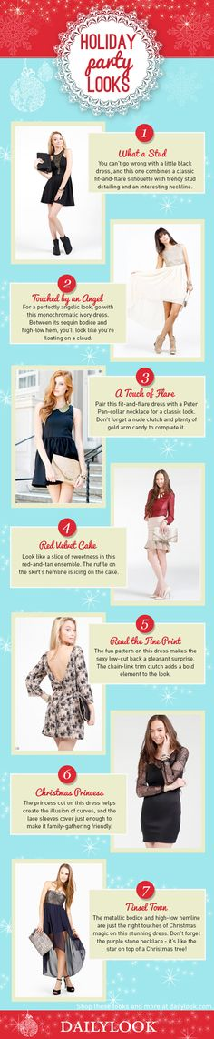 Holiday Party Looks: A DailyLook Style Guide. Click the image link to shop these looks! @dailylook #dailylook #dailylooksugarandspice #fashion #style #clothes #accessories #dress #partyoutfit