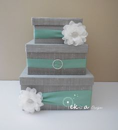 Wedding card box / money box / card holder / gift by eshepDesigns, use different color green - remove flowers...but love the gray/silver color.