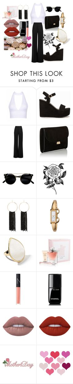"""~ mothers day outfit/special"" by moniquedawson09123 ❤ liked on Polyvore featuring Nly Shoes, Roksanda, Mansur Gavriel, Forever 21, Bebe, Gucci, Ippolita, Lancôme, NARS Cosmetics and Chanel"