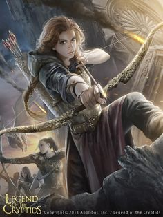 Jenny - Hunters of Arraspel (Both her parents died when she was very young, before she even knew them. She instead was raised by her uncle, who didn't want to take care of her, so he planned to sell her to make money for alcohol. She was bought by a Ranger man, who raised her as his own. He taught her how to defend the innocent, and when she was twelve, she was so good with a bow that she was blessed with an unimaginable power to never miss, making her the best shot of the Hunters.)