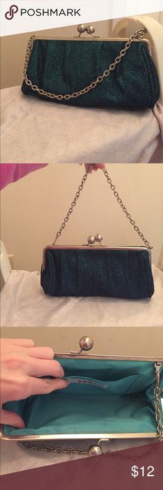 Emerald green/blue sparkly clutch purse Unlisted by Kenneth cole clutch purse. Has pockets inside and has a small strap for shoulder use if desired. Great condition. Hard to find color. Bags Clutches & Wristlets