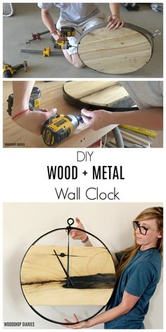 diy holz How to Make a DIY Wood Metal Wall Clock {Video Tutorial} Wood Art Design, Wall Clock Design, Design Design, Make A Clock, Diy Clock, Clock Ideas, Diy Wall Clocks, Clock Wall, Mur Diy