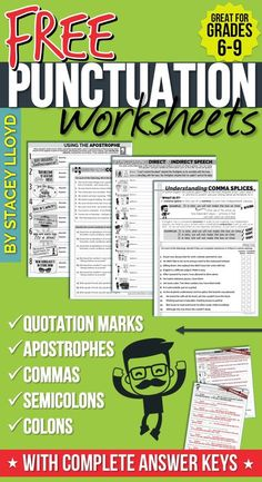 Five engaging and attractive worksheets to help teach and assess the correct usage of punctuation. FREE and with complete answer keys.
