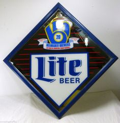 Framed Mirror Picture Milwaukee Brewers 20 Years Retro Logo 1989 American League Baseball MLB Mancave Wisconsin Sports Beer Miller Lite