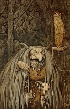 Troll Witch by Brian Froud ''Trolls are an intrinsic part of nature, and the earth itself,'' writes Wendy Froud. ''Trolls are the keepers of wisdom. Trolls are the earth's storytellers. Brian Froud, Fantasy Magic, Fantasy World, Fantasy Art, Art And Illustration, Baba Yaga, Kobold, The Dark Crystal, Magical Creatures