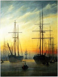 Caspar David Friedrich View of a Harbour, , Schloss Sanssouci, Berlin. Read more about the symbolism and interpretation of View of a Harbour by Caspar David Friedrich. Caspar David Friedrich Paintings, Charles Edward, Vincent Willem Van Gogh, Nautical Art, Oil Painting Reproductions, Sailing Ships, Art History, Illustrations, Fine Art