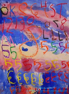 Jasper Johns inspired watercolor project with numbers and letters (kindergarten)