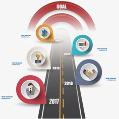 Highway shape business ppt presentation charts, Work Steps, Products Step, PPT Reporting Step PNG and Vector