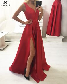 Unique Prom Dresses, Simple red v neck satin long prom dress, red evening dress, There are long prom gowns and knee-length 2020 prom dresses in this collection that create an elegant and glamorous look Red Satin Prom Dress, V Neck Prom Dresses, Unique Prom Dresses, Long Prom Gowns, Formal Dresses For Weddings, Event Dresses, Homecoming Dresses, Prom Outfits, Short Prom