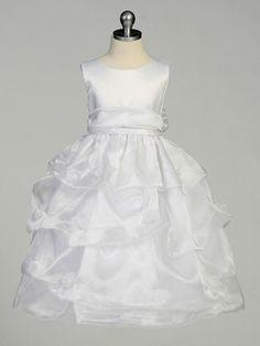 White Flower Girl Dress - Matte Satin Bodice Gathered Organza