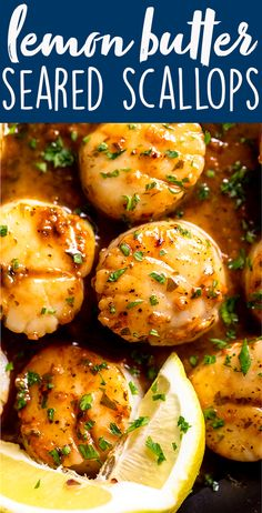 You will never believe how easy and fast it is to make Pan Seared Scallops with a Lemon Butter Sauce. Sweet, buttery and delicate Sea Scallops are quickly seared in a hot pan, then a simple lemon, butter and garlic sauce is made in the same pan. Serve on Best Seafood Recipes, Fish Recipes, Pasta Recipes, Cooking Recipes, Healthy Recipes, Easy To Cook Recipes, Salmon Recipes, Pan Seared Scallops, Entrees