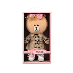 "Line Friends Teddy Bear Choco Trench Coat Doll Polyester Plush Toy Soft 12""  #NaverLineFriends #Dolls"
